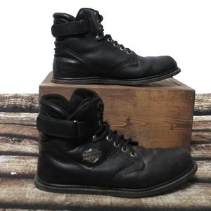 Harley Davidson Black Leather Motorcycle Boots 9.5